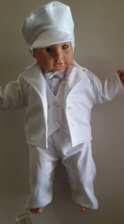 Fiú 6 részes keresztelő ruha pamut,fehér