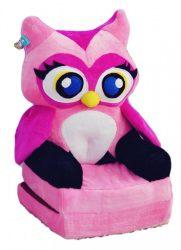 Smyk figurás,kihajtható plüss fotel Rózsaszín Bagoly