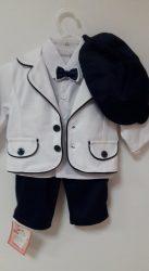 Fiú 5 részes keresztelő ruha sötétkék-fehér